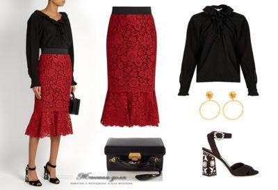 красная юбка-карандаш с воланом