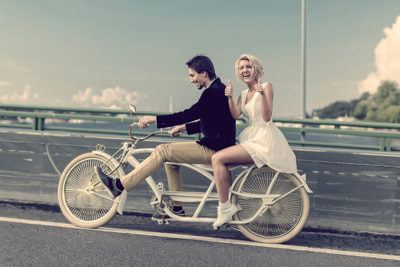 совместная поездка на велосипеде