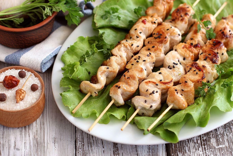 Шашлычки из курицы на сковороде на шпажках рецепт
