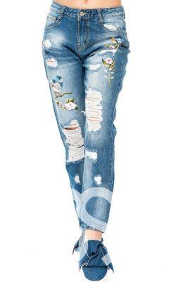 джинсы с аппликацией и вышивкой 2018