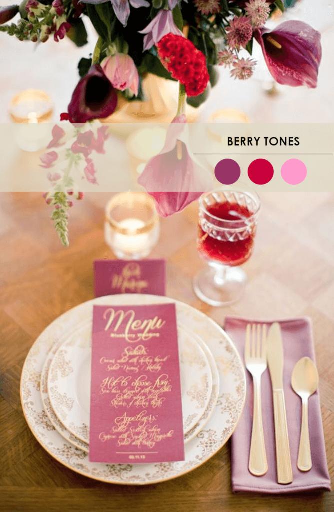 10 свадебных палитр яркие ягоды