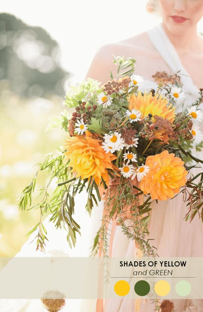 10 свадебных палитр желто-зеленый
