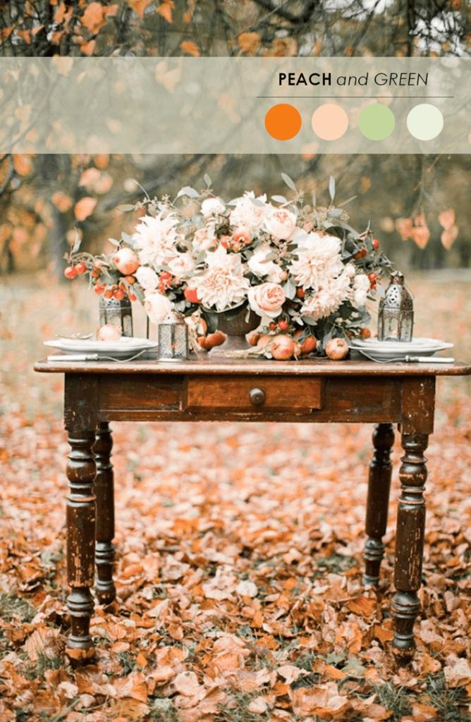 10 свадебных палитр персиковый и зеленый