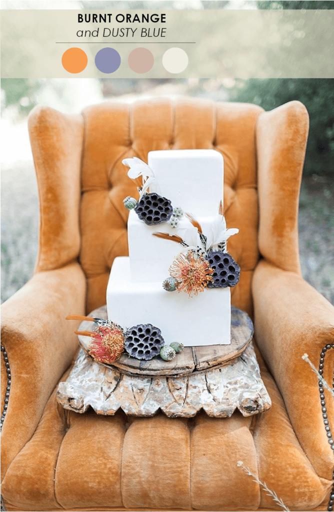 10 свадебных палитр апельсиновый и синий