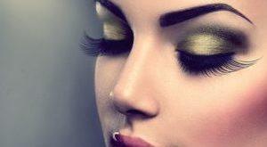 Вечерний макияж в золотисто-синих тонах