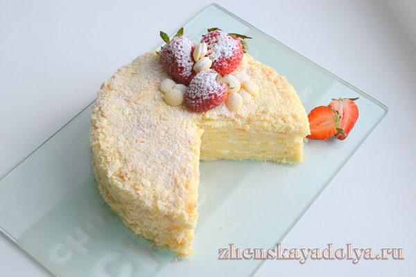 торт наполеон классический рецепт с фото пошагово с заварным кремом