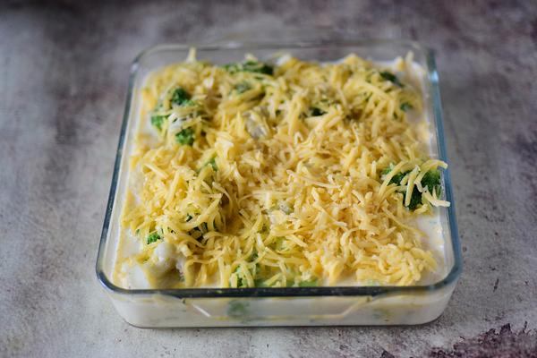 рецепт запеканки из брокколи и цветной капусты в духовке